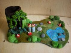 Custom Waldorf Inspired Natural Toy- Wool Playmat/Playscape with felted log and peg people