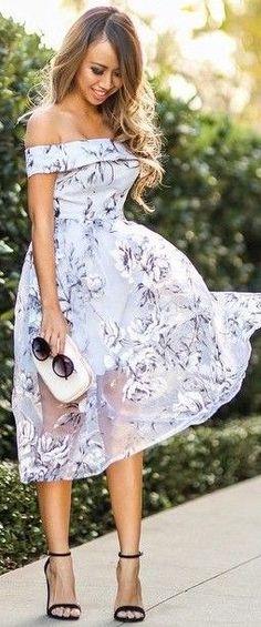 #summer #feminine #outfits |  Blue Floral Bardot Midi Dress