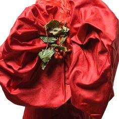 Red silk bodice with holly ornamentation, 1890s, sleeve detail. Charleston Museum