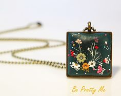 Still Blooms. Divine Polymer Clay Necklace Pendant