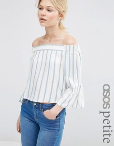 53d57d766cc7f Image 1 of ASOS PETITE Stripe Off the Shoulder Top Asos Petite