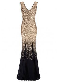 Goddiva Ombre Sequin Chiffon Maxi Dress in Gold