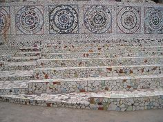 Mosaic wall and stairs.