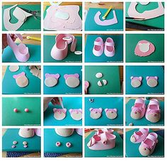 lil girl shoes fondant how tobaby shoe with templateAmazing (pic only) step by step figurines of all types!Biscuit Collection of spring flowers Fondant Figures Tutorial, Cake Topper Tutorial, Fondant Toppers, Fondant Cakes, Cupcake Cakes, Cupcakes, Fondant Bow, Cake Decorating Tutorials, Cookie Decorating