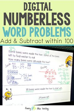 Numberless Word Problems within 100 (DIGITAL & Printable) Numberless math word problems is an AMAZI First Grade Lessons, First Grade Math, Math Lessons, Grade 2, Math Fact Practice, Teaching Addition, Math Fact Fluency, Math Lesson Plans, Math Words