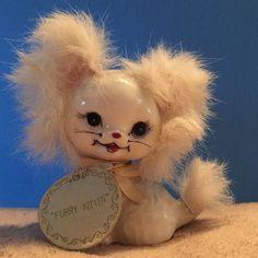 """Vintage ENESCO Cat Kitten Big Eyes """"FURRY KITTEN"""" Fur Ceramic White Japan"""