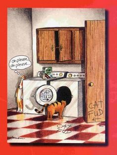 "Cat Fud - The Far Side by Gary Larson. Montage Example: A ""The Far Side"" comic by Gary Larson, this comic displays the use of a montage word/picture combination in with the writing of 'cat fud' throughout the scene. Far Side Cartoons, Far Side Comics, Funny Cartoons, Funny Comics, Cartoon Jokes, Haha Funny, Funny Dogs, Hilarious, Funny Stuff"