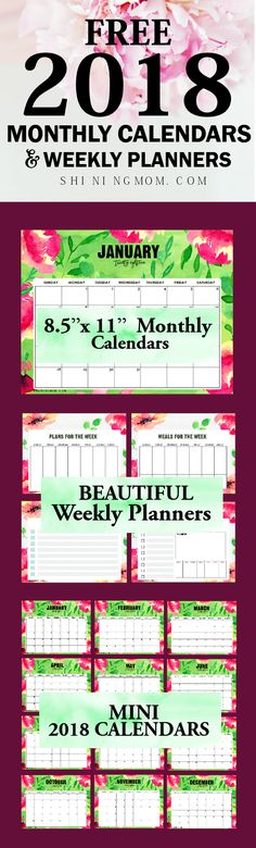 This beautiful 2018 calendar printables are definitely free to use! It also comes with free 2018 weekly planner!    #planner #calendar #2018 #printable
