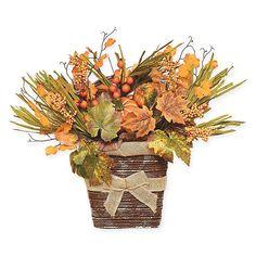 Orange Leaf, Green And Orange, Baskets On Wall, Hanging Baskets, Hanging Plants, Artificial Pumpkins, Open Rose, Rose Arrangements, Basket Decoration