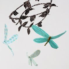 3 dragonflies dream of spring  fabric mobile in by BabyJivesCo (etsy) 98.00$