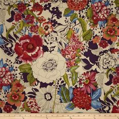 Alexander Henry Blak & White Greenwich Tea from @fabricdotcom  Designed by the De Leon Design Group for Alexander Henry, this fabric is perfect for quilting, apparel and home decor accents. Colors include shades of pink, red, orange, plum, blue, cream, and green.