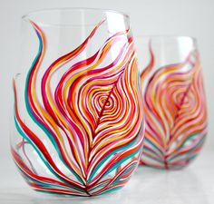 Neon Peacock Feather Stemless Glasses-Set of 2 by Mary Elizabeth Arts