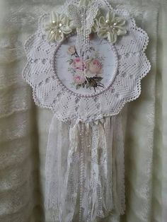 Pink rose dreamcatcher Shabby chic by Chiclaceandpearls on Etsy