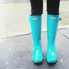 Light blue Hunter Rainboots New York City