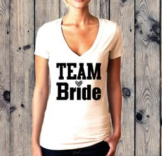 6 Team Bride shirts v-neck 1 Bride shirt womens fit by airspin Team Bride Shirts, California Shirt, Bridesmaid Shirts, Bridesmaids, T Shirts For Women, Clothes For Women, Diy Clothes, Girl Outfits, Trending Outfits
