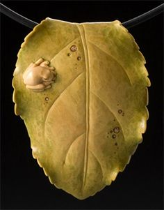 Apple Leaf & Peeper necklace carved in boxwood by Janel Jacobson. Exquisite!