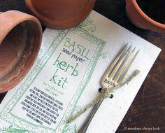 Silverware garden marker basil plantable paper herb kit | monkeysalwayslookshop