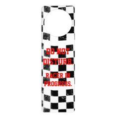 Checkered Flag Door Hanger - Do Not Disturb. Racer in Progress.