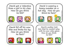 FREEBIE! How Does David Feel?  A Pragmatic Language Activity.  Pinned by SOS Inc. Resources http://pinterest.com/sostherapy.