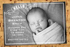 Newborn Baby birth announcement HELLO digital file door yellowlemons, $14.00