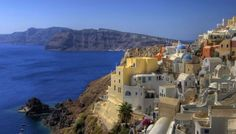 The famous island of Santorini in Greece is the southern most island of the Cycladic group in the Aegean Sea.