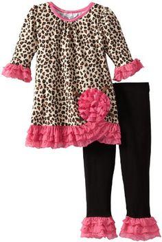 Rare Editions Little Girls' Print Legging Set Toddler, Brown, Toddler Pants, Toddler Outfits, Kids Outfits, Toddler Stuff, Kid Stuff, Pants Outfit, Outfit Sets, Girls Leggings, Printed Leggings