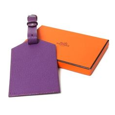 Hermes Violet Chevre Myzore Luggage Tag