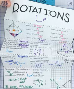 This rotations foldable was perfect for my geometry student's interactive notebook. We used it for class notes and then I turned them loose to practice graphing rotations for homework on the next page. It was a great class activity. Geometry Interactive Notebook, Teaching Geometry, Interactive Notebooks, Teaching Math, Geometry Vocabulary, Creative Teaching, Teaching Tips, Math Lesson Plans, Math Lessons
