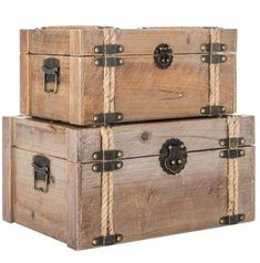 Wood Storage Trunk Set Of 2 Natural Distressed Small Antique Style Jewelry Chest Handmade Wood Furniture, Modern Wood Furniture, Etsy Furniture, Trunk Furniture, Furniture Storage, Storage Trunk, Wood Storage, Wood Crates, Wood Boxes