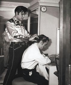 """""""Loving You"""" Elvis' cousin, Gene Smith: """"I have to admit that I was disappointed to discover that the barber shop scene in 'Loving you', wherin Deke Rivers gives me a haircut, had been cut from the film, and as I sat there and watched the movie and listened to Dolores Hart as Susan Jessup sing 'Detour' I reflected on the detours, wrong-turns, deadends and alternate routes on the roadmap of Elvis' life..""""  a scene cut from the film (as mentioned in the book """"Elvis' man Friday"""" by Gene Smith)"""