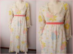 Vtg60s pastels colored floral print festival dress $22.09