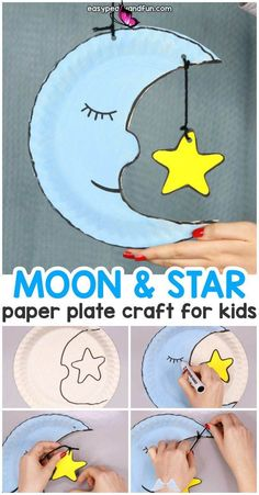 Preschool Simple Moon Paper Plate Craft for Kids  <br> Paper Plate Crafts For Kids, Paper Crafts For Kids, Crafts For Kids To Make, Paper Crafting, Kids Diy, Craft Kids, Arts And Crafts For Kids Easy, Kid Crafts, Craft Box