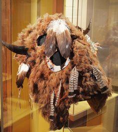NATIVE AMERICAN HORSE MASK: buffalo motif