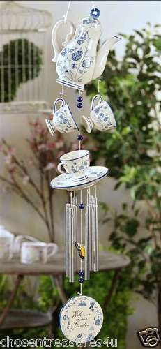 NEW Ceramic Teapot w/Cups Design Windchime Welcome to our Garden 27 inches
