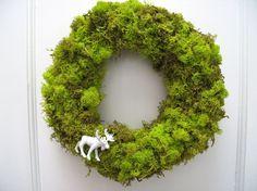Lime green moss wreath!
