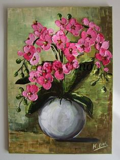 Pink Orchids Palette knife Original Oil Painting by ArtistsUnion