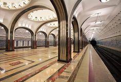 Современный вид станции метро «Маяковская» в Москве. Russia, Stairs, Stairway, Staircases, Ladders