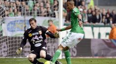 Saint-Etienne sealed a victory against strugglers Evian Thonon Gaillard to reach the third place in the table.
