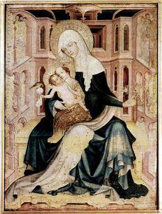 św. Anna Samotrzecia, strzegomski obraz z XIV w (2 poł?), tempera i nieznany krąg artystyczny (fundacja czeska); piekna architektura w tle przypominająca włoskie malarstwo quattrocenta