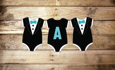 Tuxedo Baby Shower Banner Black Tie Banner bodysuit Die Cut
