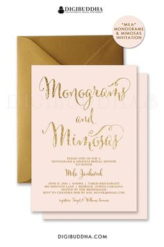 Blush pink and gold glitter Monograms & Mimosas bridal shower invitations. Choose from ready made printed cards with envelopes or printable monograms & mimosas bridal shower invites.  Gold shimmer envelope also available, at digibuddha.com