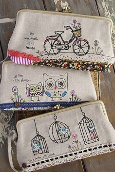 frame purse with stitch. Embroidery Bags, Free Motion Embroidery, Cross Stitch Embroidery, Embroidery Designs, Freehand Machine Embroidery, Sewing Crafts, Sewing Projects, Fabric Crafts, Craft Projects