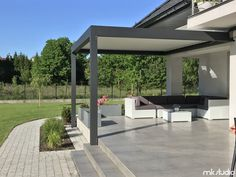 Terrace roofs perfect for our client with the help of professional pergola and awnings - Outdoor Decor, Perfect Patio, Garden Design, May Garden, Outdoor Space, Timber Roof, Modern Garage, Door Design Modern, Pergola Attached To House