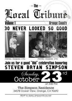 Newspaper Theme Birthday Party Invitation Local By Socalcrafty