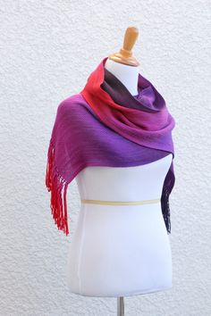 Woven scarf in pink, fuchsia and purple colors, gift for her