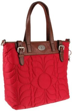 """$128.00 Fun and Stylish Handbag by Fossil,Nylon,Zipper Closure,Fossil Keychain Attached To Purse,Adjustable Shoulder Strap,Double Handle,12""""L x 1""""W x 11 1/4""""H,Great Handbag You'll Love Taking Anywhere"""