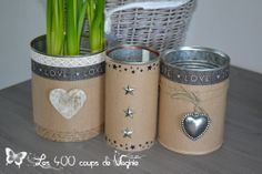Pots à crayons et cache-pot... Recup boîte à conserves Recycle Cans, Diy Cans, Diy Recycle, Tin Can Crafts, Diy Crafts To Sell, Pot A Crayon, Altered Tins, Paint Cans, Recycled Crafts