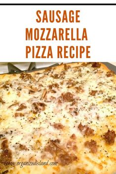 Nov 2019 - Sausage Mozzarella Pizza - Sausage Mozzarella Pizza inspired by a trip to Rome. To save time you can use a premade crust, or try this easy recipe. It's delicious and simple to make! Yummy Pasta Recipes, Pizza Recipes, Yummy Food, Dinner Recipes, Delicious Meals, Lunch Recipes, Bread Recipes, Yummy Treats, Dinner Ideas