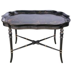 Fine English Regency Lacquer Tray on Stand | From a unique collection of antique and modern tray tables at https://www.1stdibs.com/furniture/tables/tray-tables/