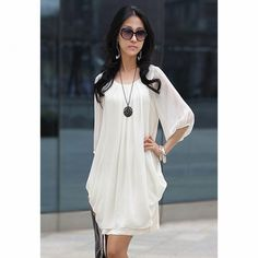 Chiffon Scoop Neck 3/4 Sleeves Fairy Style Solid Color Dress For Women